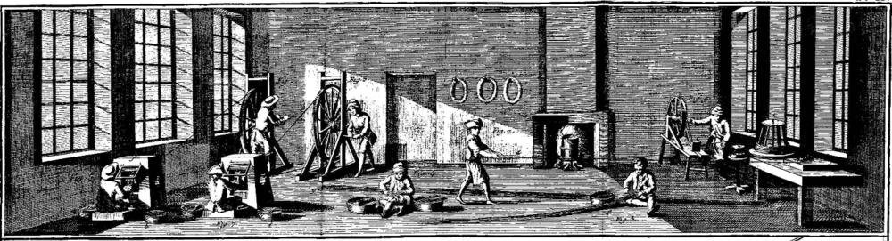 18세기 핀공장 (출처:http://www.alembert.fr/)